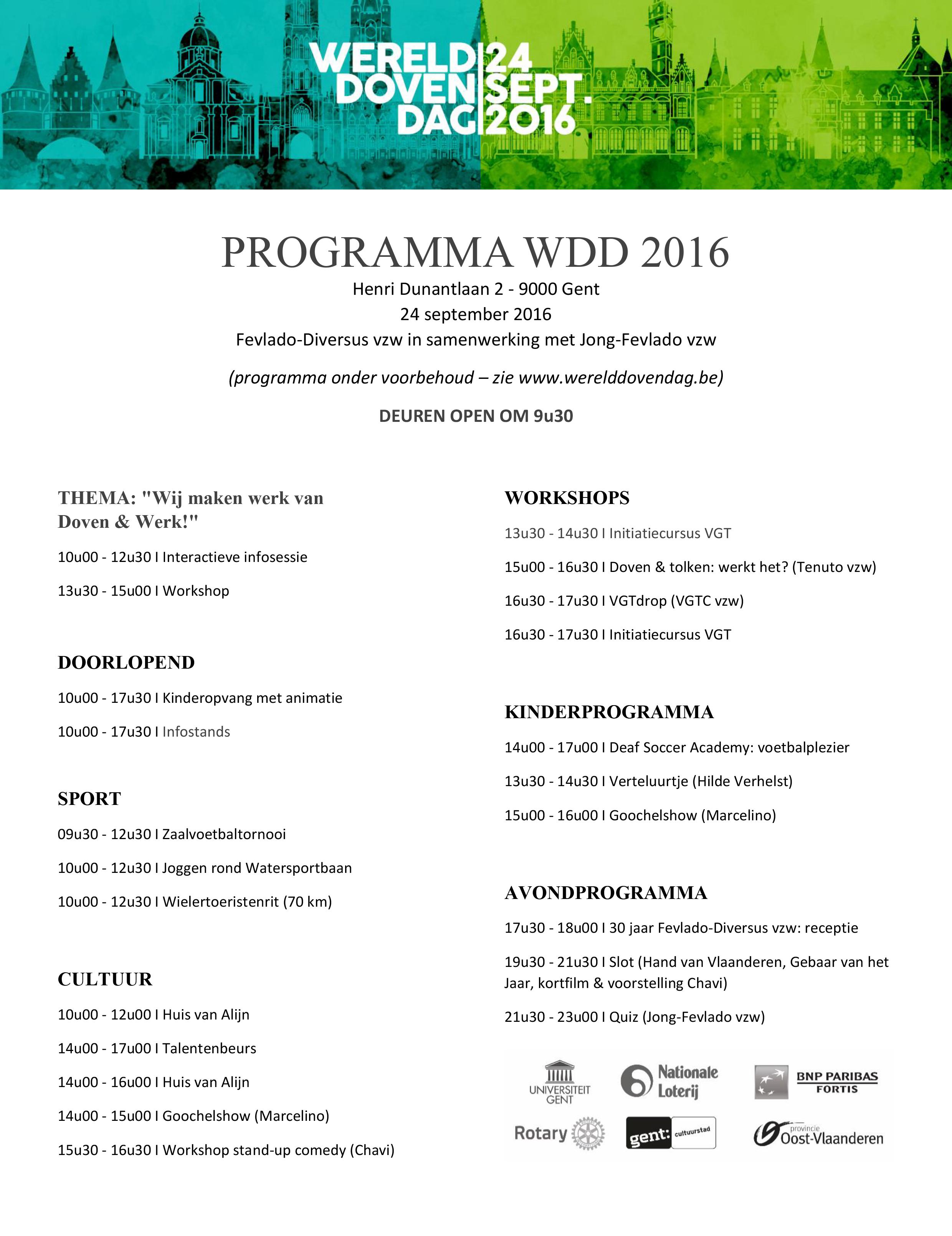 Programma WDD2016 voor ledenblad dovenclubs